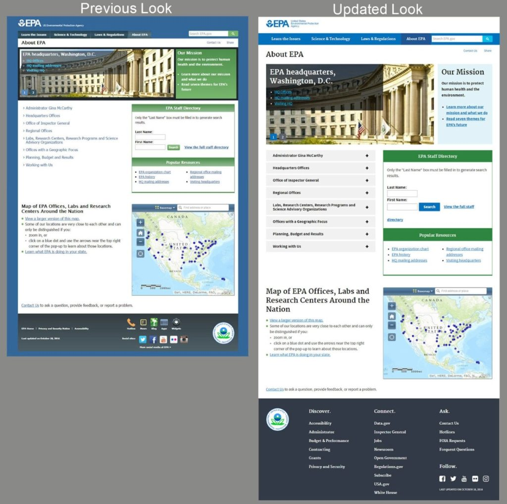 government website modernization U.S. web standards before and after