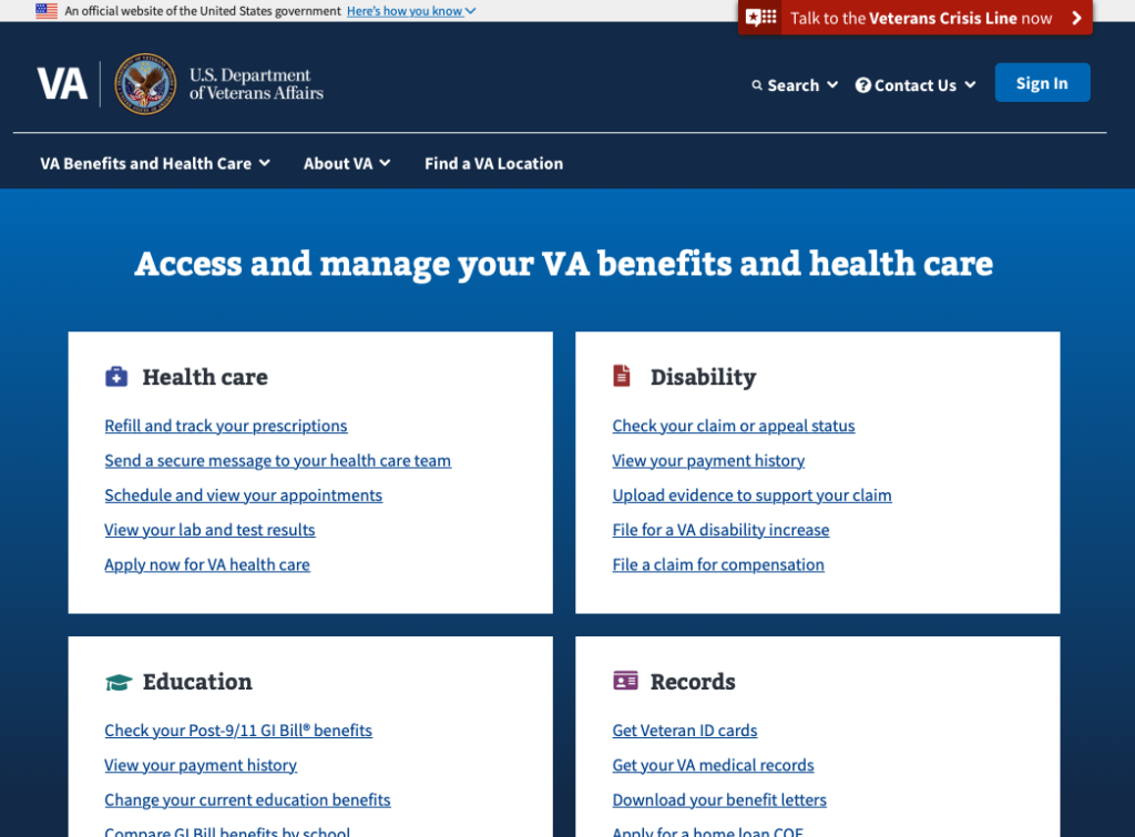 Government website accessibility example
